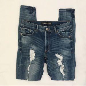 Express High Rise Legging Distressed Denim Jeans